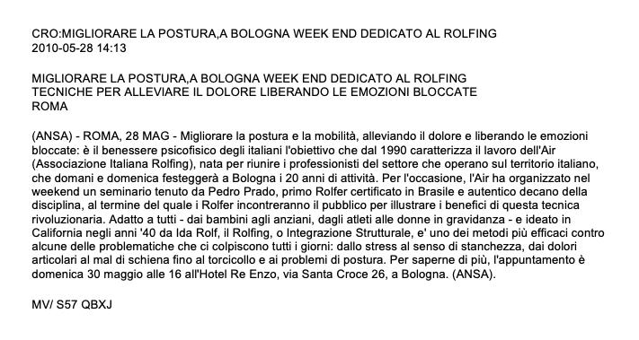 Migliorare la postura: a Bologna week end dedicato al rolfing
